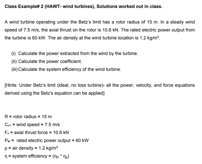Class Example 2 HAWT Wind Turbines Solutions Worked Out In