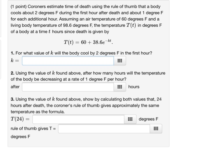 Coroners Estimate Time Of Using The Rule Of