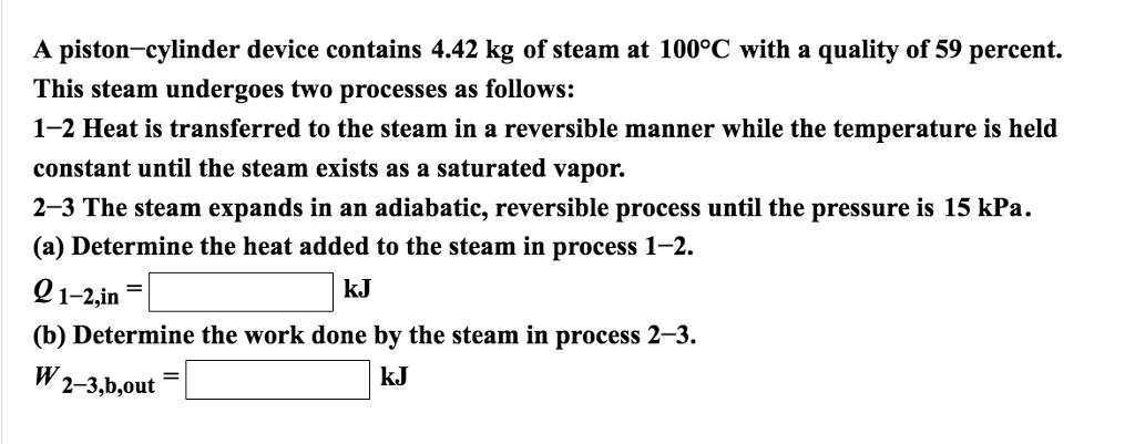 A Piston Cylinder Device Contains 442 Kg Of Steam At 100C With
