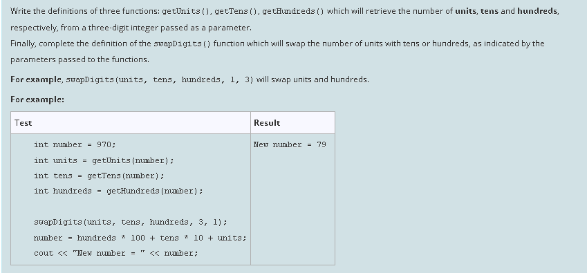 Solved: Write The Definitions Of Three Functions: GetUnits