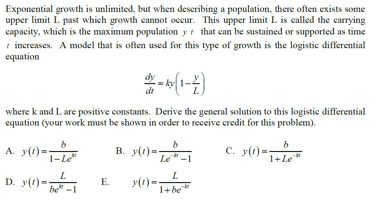 solved: exponential growth is unlimited, but when describi