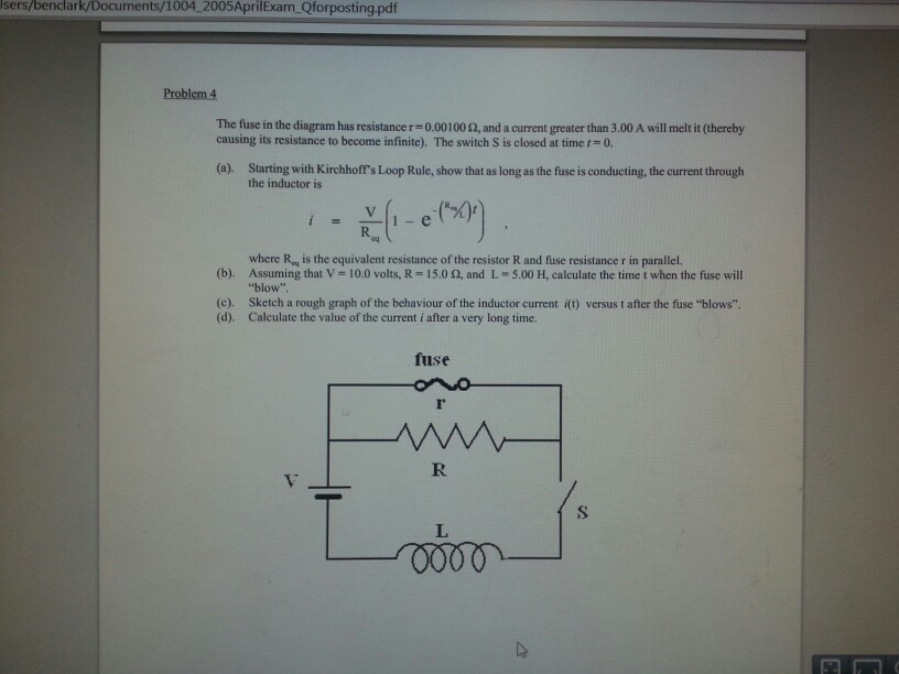 Problem 4 The Fuse In The Diagram Has Resistance R