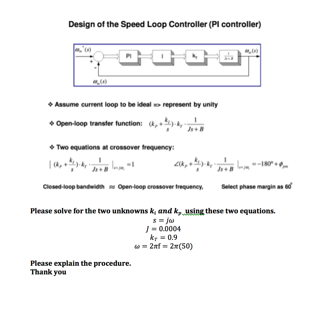 Solved: Design Of The Speed Loop Controller (PI Controller