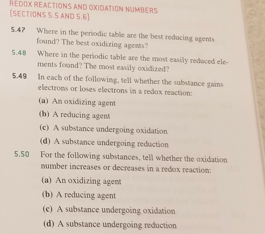 Solved redox reactions and oxidation numbers sections 55 redox reactions and oxidation numbers sections 55 and 56 547 where in the periodic table urtaz Choice Image