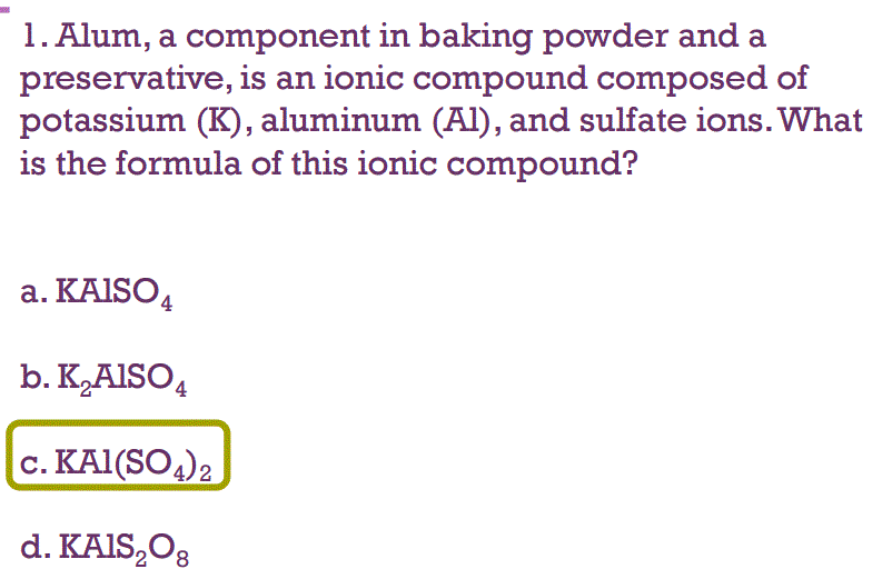 Solved: Alum, A Component In Baking Powder And A Preservat