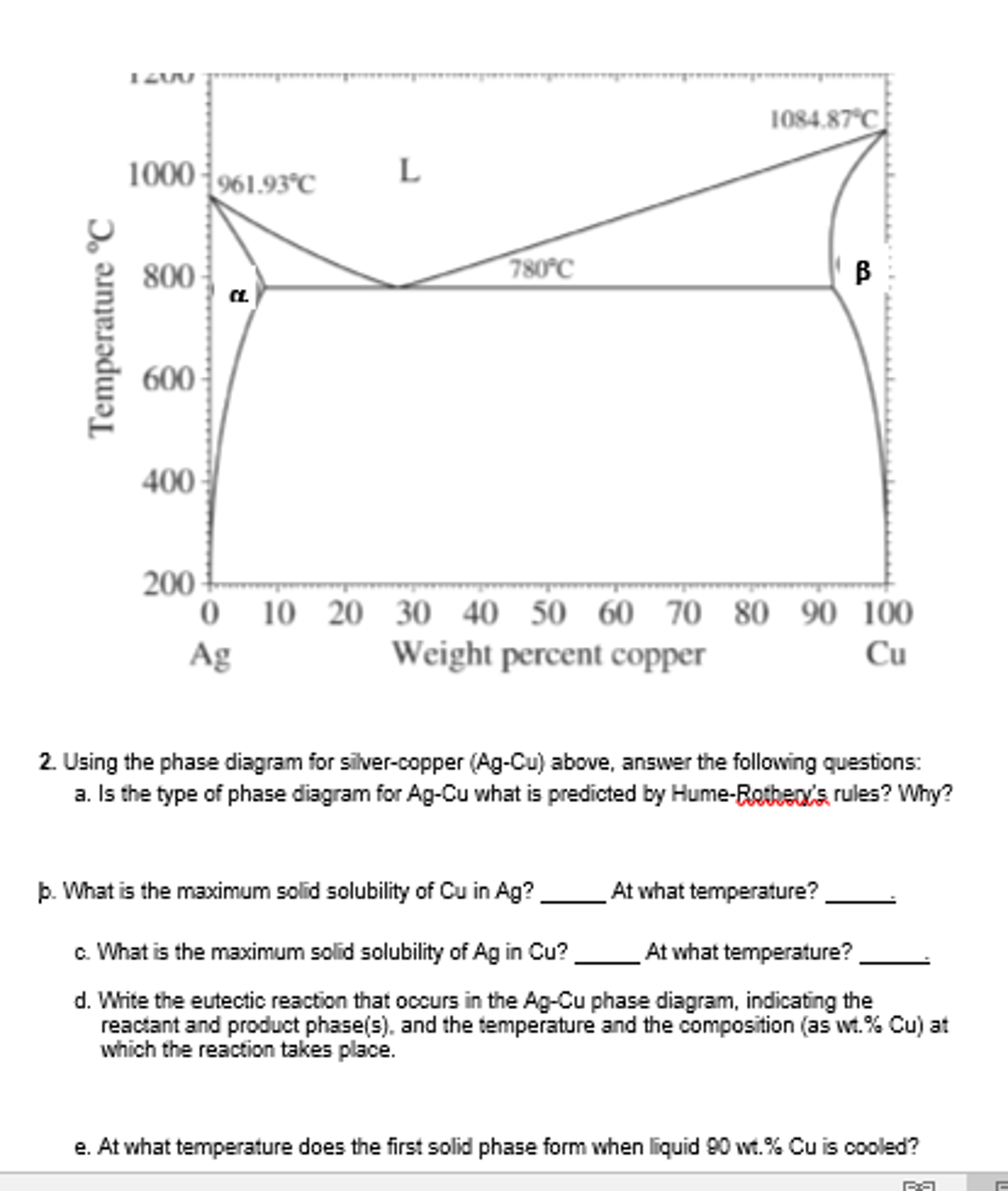 Using the phase diagram for silver copper ag cu chegg using the phase diagram for silver copper ag cu ccuart Gallery