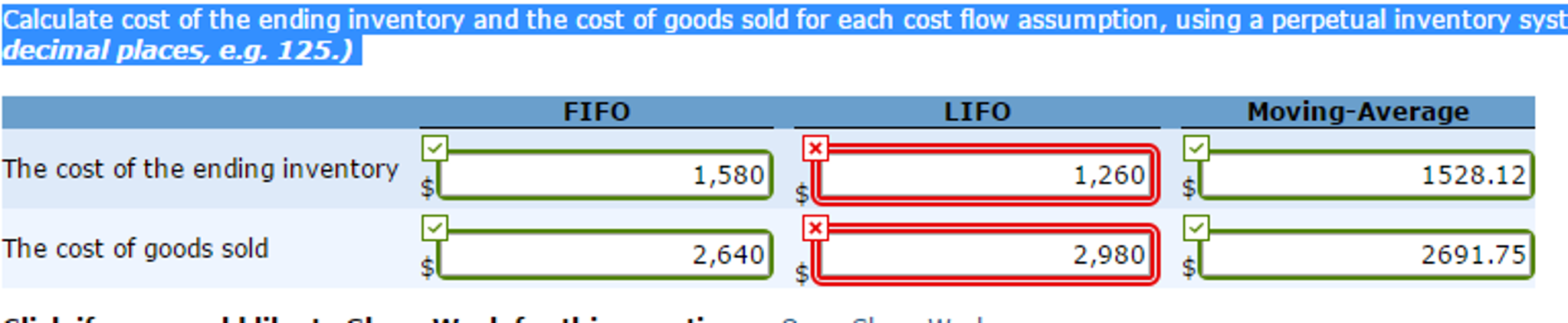Solved: Calculate Cost Of The Ending Inventory And The Cos ...