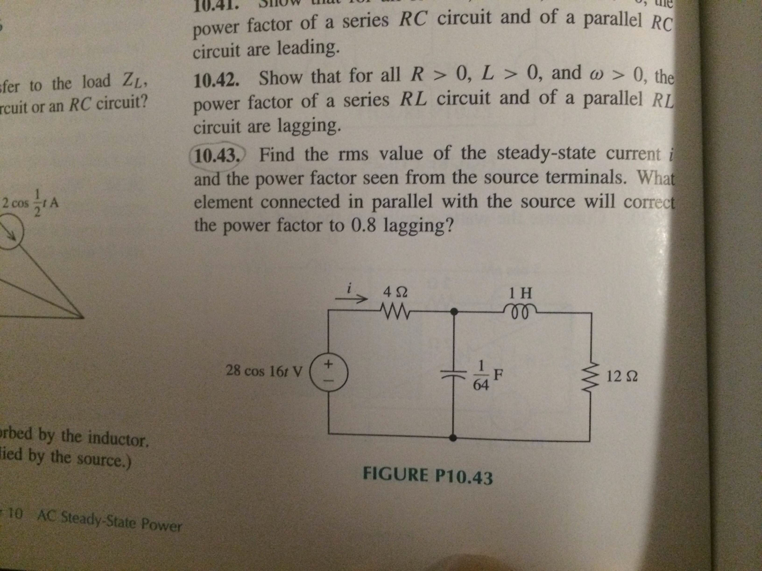 Power Factor Of Rc Circuit Wiring Diagram And Ebooks Image For Series Parallel Rl Circuits With An Ac Source A Solved Paral Rh Chegg Com R L