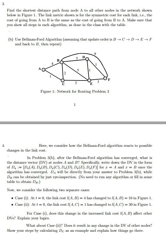 Solved: 3  Find The Shortest Distance Path From Node A To