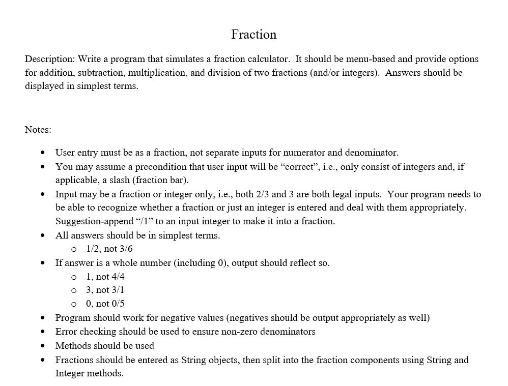 Fraction Description: Write A Program That Simulat