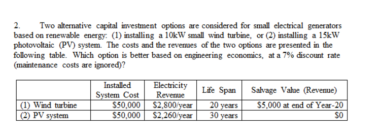 Solved: Two Alternative Capital Investment Options Are Con