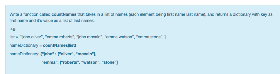 Question Write A Function Called CountNames That Takes In List Of Names Each Element Being First Name L