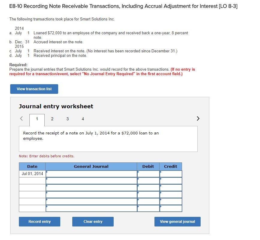 Solved: E8-10 Recording Note Receivable Transactions, Incl