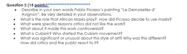 Describe In Your Own Words Pablo Picasso S Paintin Chegg Com
