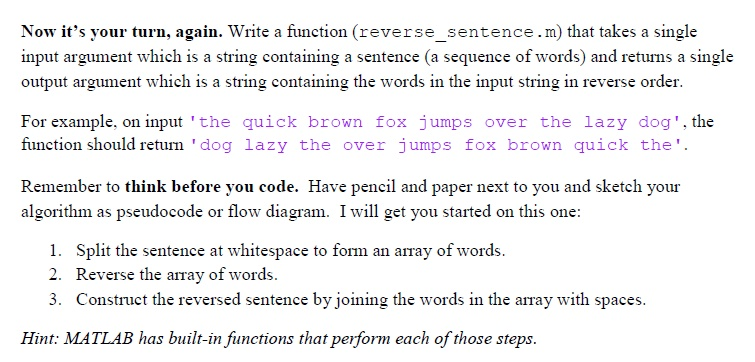 Solved: Now It's Your Turn, Again  Write A Function (rever