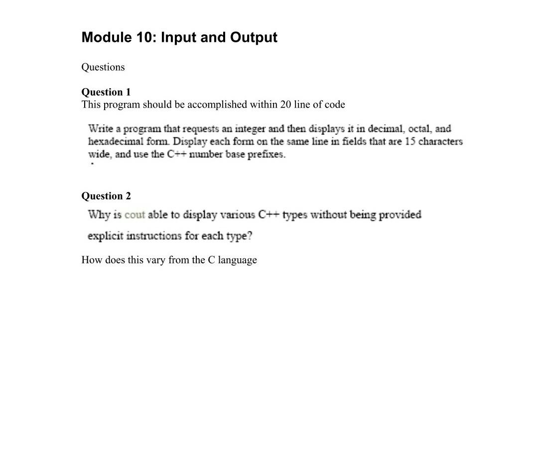 module 1 question