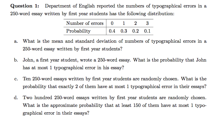 Solved Question  Department Of English Reported The Nu  Question Question  Department Of English Reported The Numbers Of  Typographical Errors In A Word Ess
