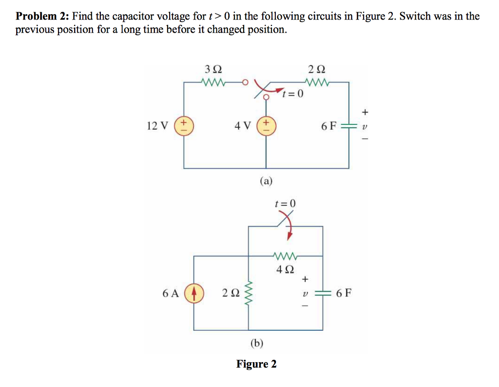 Voltage Switch Circuit Solved Find The Capacitor For T 0 In Follow Problem 2 Following Circuits Figure