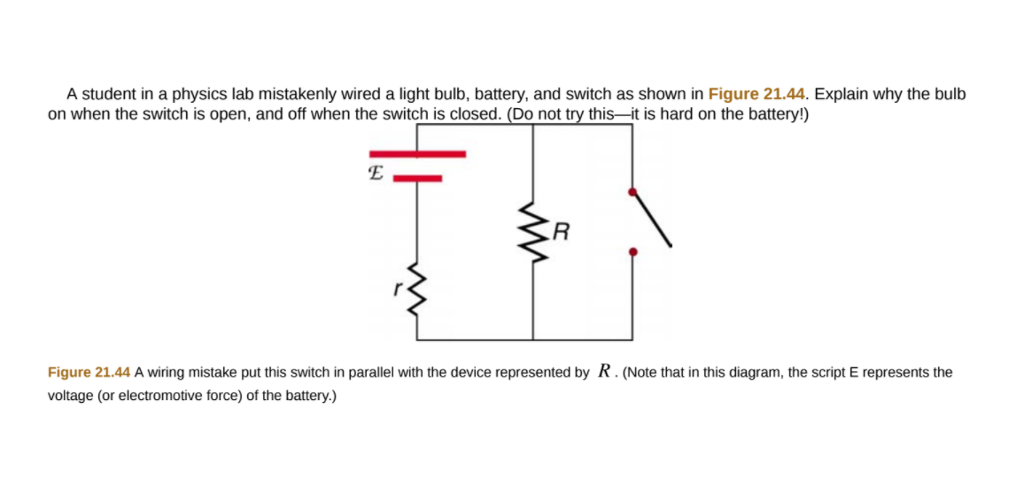Solved: A Student In A Physics Lab Mistakenly Wired A Ligh ...