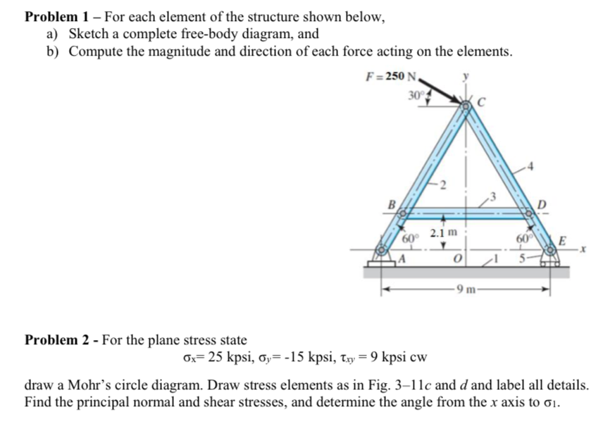 Solved problem 1 for each element of the structure show problem 1 for each element of the structure shown below a sketch a ccuart Images