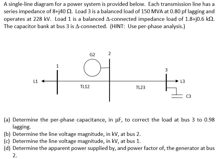 Solved A Single Line Diagram For A Power System Is Prov