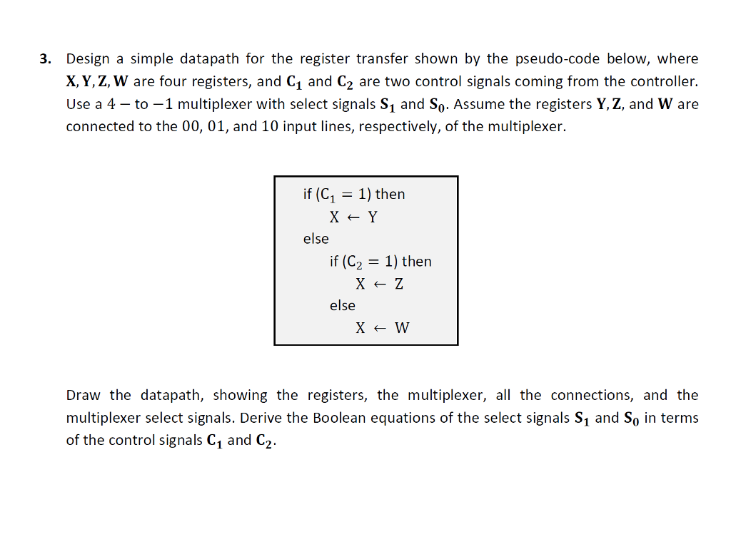 solved 3 design a simple datapath for the register trans