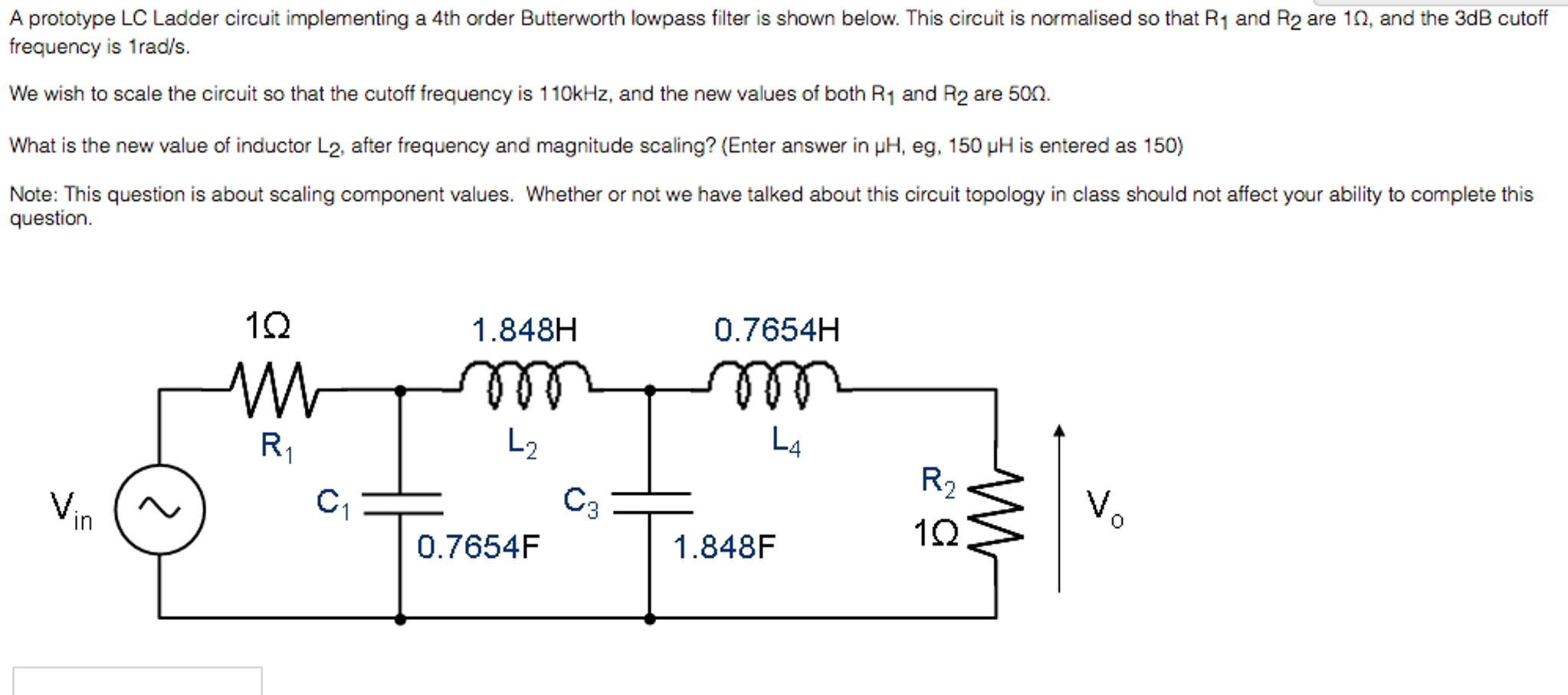 Solved: A Prototype LC Ladder Circuit Implementing A 4th O