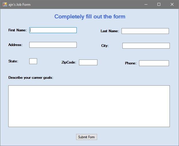 Solved Visual Basic Create A Job Application Form You Do