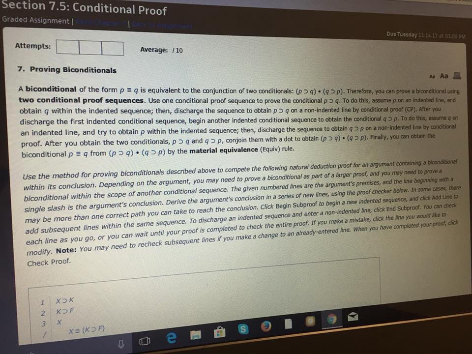 Section 75 Conditional Proof Graded Assignment