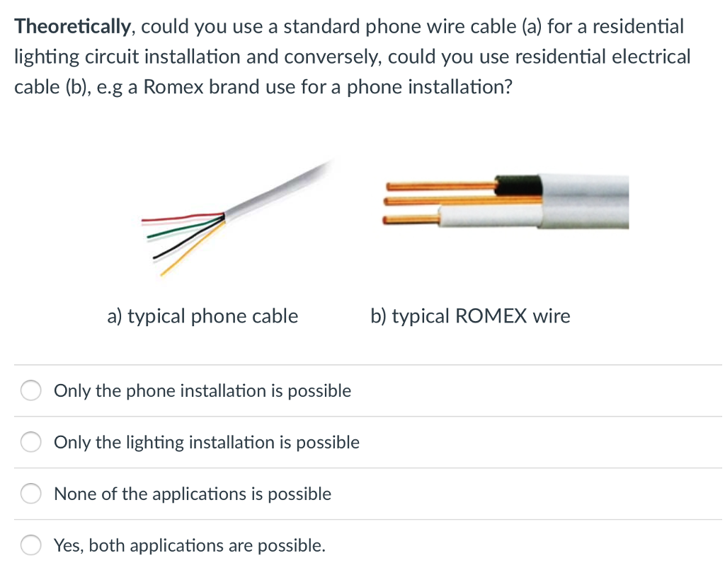 Solved: Theoretically, Could You Use A Standard Phone Wire ...