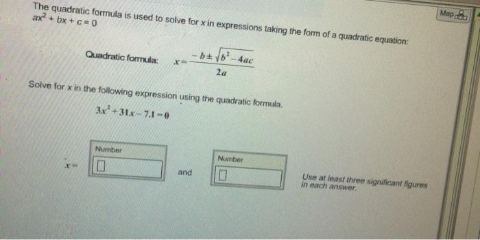 quadratic formula questions and answers pdf