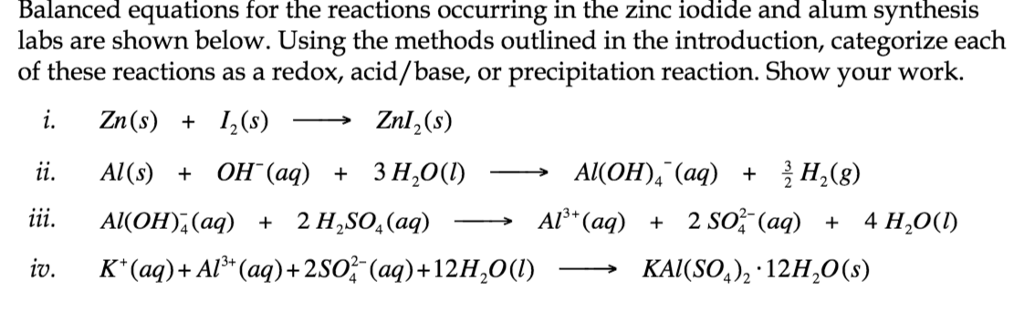 Solved Balanced Equations For The Reactions Occurring In