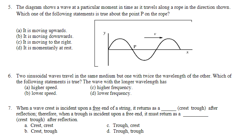 Physics archive march 31 2018 chegg 5 the diagram shows a wave at a particular moment in time as it travels fandeluxe Images