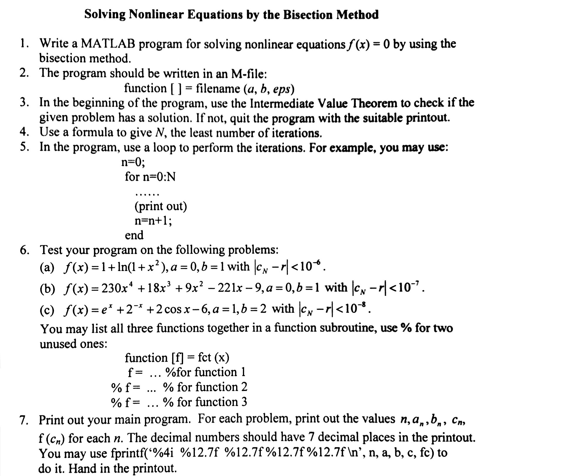 solved: solving nonlinear equations by the bisection metho