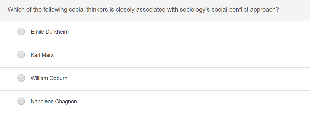 Which of the following social thinkers is closely associated with sociologys social-conflict approach? Emile Durkheim Karl Marx William Ogburn Napoleon Chagnon