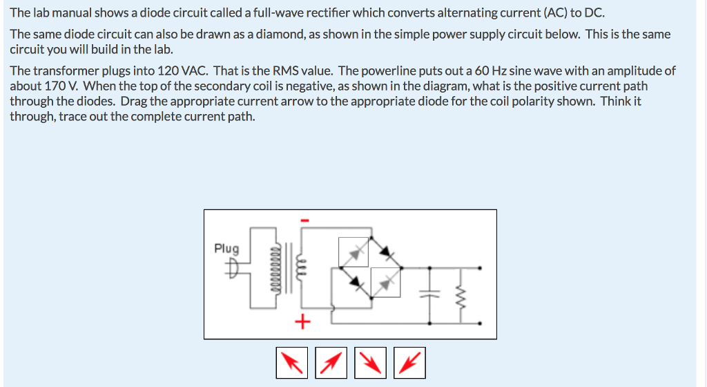 Circuit Diagram For Full Wave Rectifier | Solved The Lab Manual Shows A Diode Circuit Called A Full