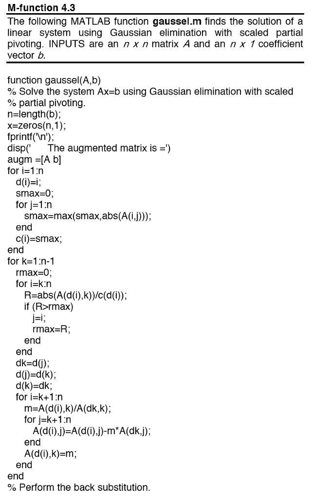 Modify Gaussel.m Code To Get A Matlab Code (above