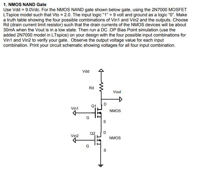 Solved: 1  NMOS NAND Gate Use Vdd 9 0Vdc  For The NMOS NAN
