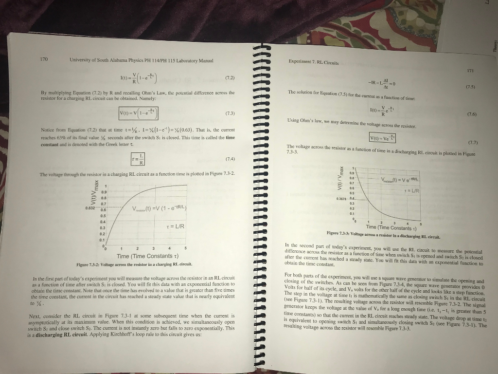 Solved An Rl Circuit Is Constructed Using A 109 Plus Mi Experiment 6 Resistors In Series Ii 7 Circuits 170 University Of South Alabarma Physies Ph 114 115