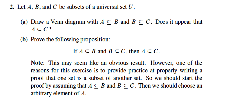 Solved 2 Let A B And C Be Subsets Of A Universal Set U