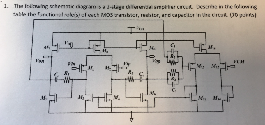 1 The Following Schematic Diagram Is A 2 Stage Di Chegg