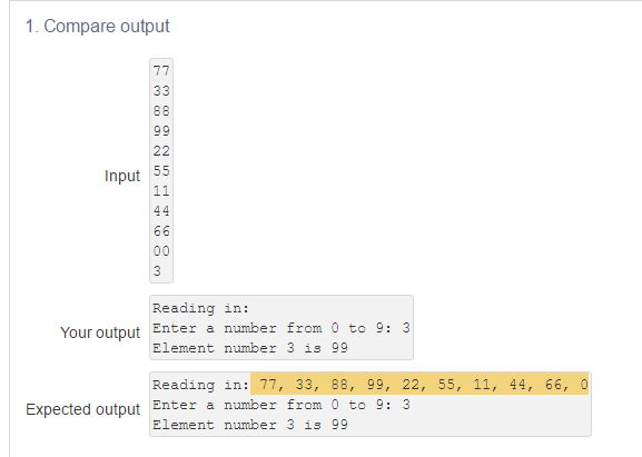 1 Compare Output Input 55 Reading In Enter A Number From 0 To 9