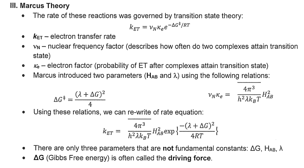 marcus theory An overview of the use of the marcus theory to calculate the energies of transition states contributed by: elizabeth greenhalgh, amanda bischoff, and matthew.