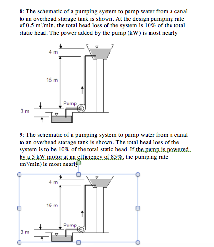 solved the schematic of a pumping system to pump water fr water tank architecture question the schematic of a pumping system to pump water from a canal to an overhead storage tank is shown