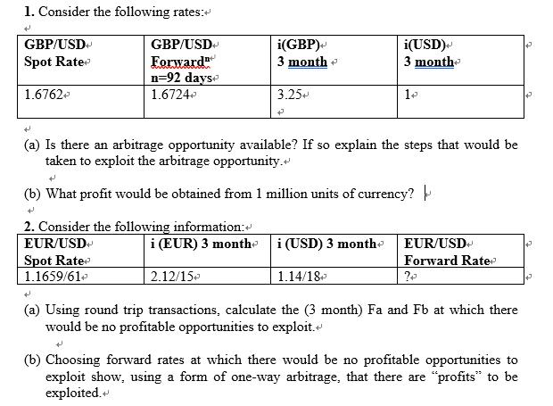 Consider The Following Rates GBP USD Eorward N 92 Dayse 16724