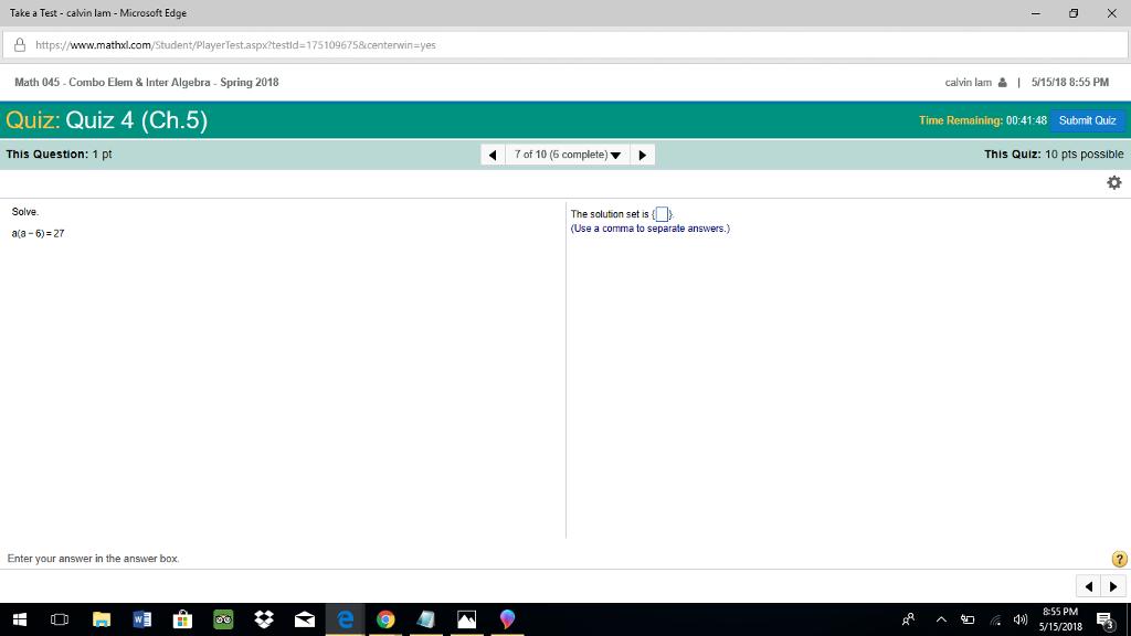 Solved: Take A Test - Calvin Lam - Microsoft Edge ?https ...