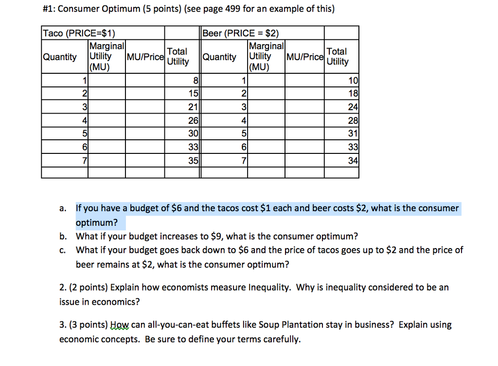 solved consumer optimum see page 499 for an example of t