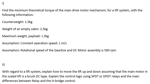 Find The Minimum Theoretical Torque Of The Main Dr    | Chegg com