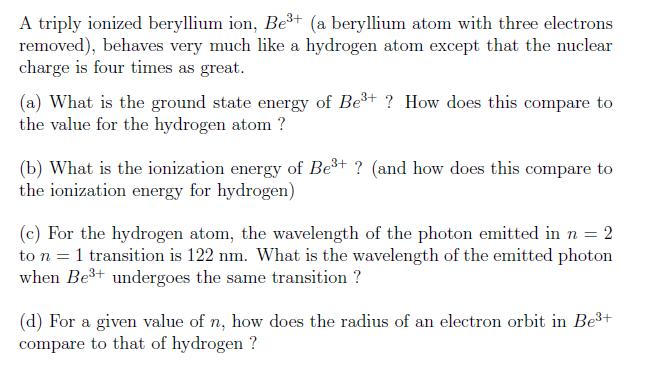 Beryllium Ion Atom