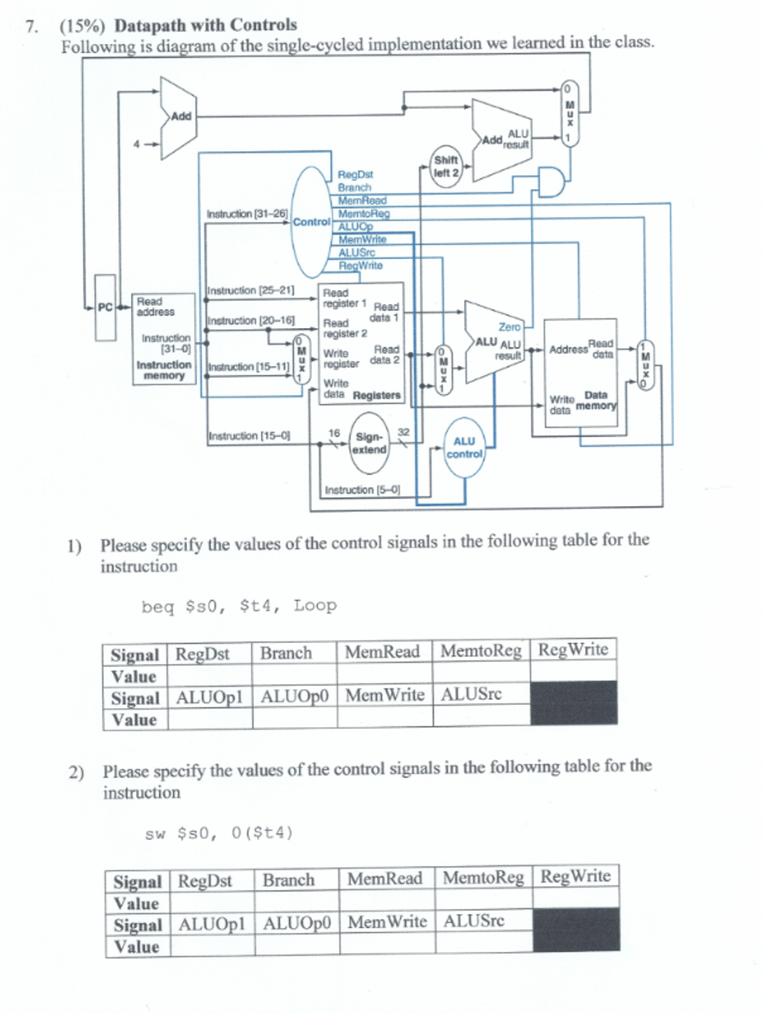electrical engineering archive com datapath controls following is diagram of th
